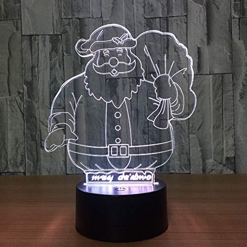 Wangzj Animale Lupo Hallowen Party Led Illusione ottica 3d Luce notturna/Accendi decorazioni natalizie/Touch switch-Santa
