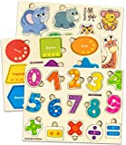 Toddler Toys for 1 2 3 Year Old Boys and Girls - 3 Pack by Quokka - Shapes Numbers Puzzle Games - Wooden Toys for 2 Year Olds with Words and Colorful Images, Positive Toddler Puzzles for 2-3 Years