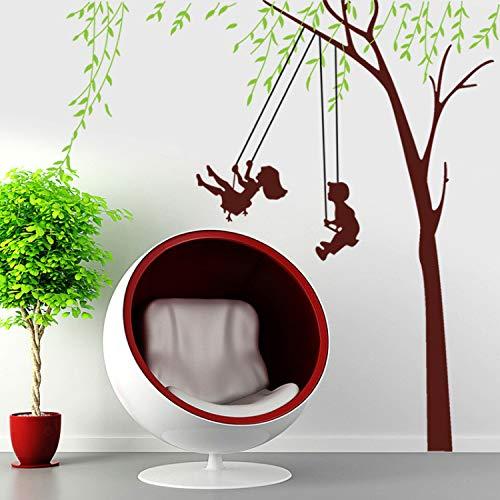 GLYOUNG Wandaufkleber Tapete Happy Day Kinder Schaukel Wandaufkleber Für Kinder Zimmer Grünen Baum Wandtattoos Wohnzimmer Schlafzimmer Dekor Wandbild Poster