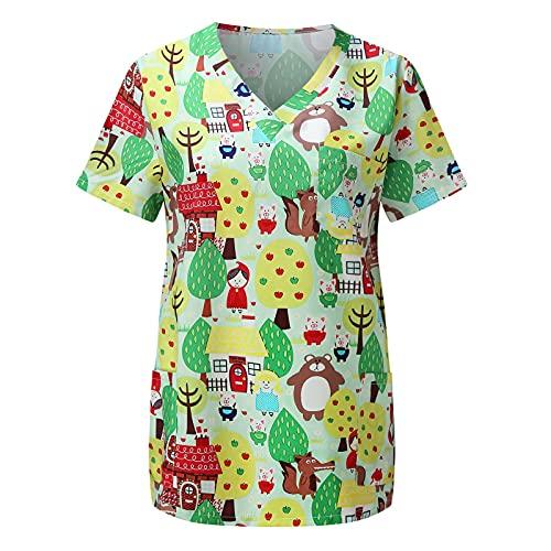 Briskorry Kasack - Camiseta de manga corta para mujer con estampado de animales, con dos bolsillos, verde-1, L