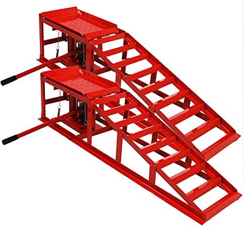DXL PKW Rampe mit integrierter Wagenheber Hebebühne , 2X KFZ Auffahrrampe mit Wagenheber hydraulisch 2 T Hebelast (rot), höhenverstellbar (max. 245 mm Reifenbreite)