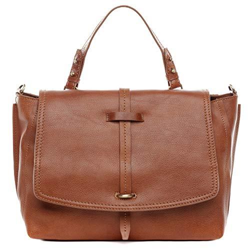 BACCINI® Borsa porta pc vera pelle LORETTA grande borsa a spalla 13 pollici portadocumenti a tracolla portatile donna cuoio marrone