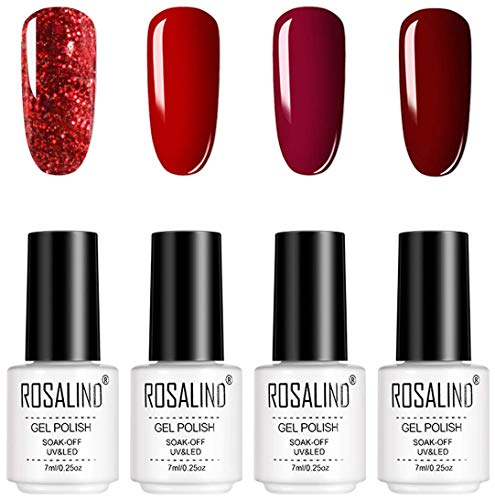 ROSALIND UV Gel Nagellack 4pcs Permanent Nagellack Set, UV Lack Starter Set LED Glitter Nagellack Kit Red Gel Polish 7 ml