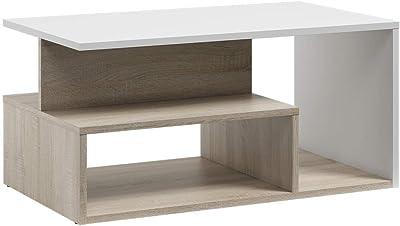 Selsey Kasivo - Table Basse/Table de café - 90x51 cm, Chêne Sonoma, Blanc - Style scandinave