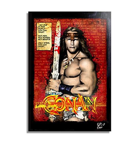 Arnold Schwarzenegger, Conan el Bárbaro (Conan The Barbarian, 1982) - Pintura Enmarcado Original,...