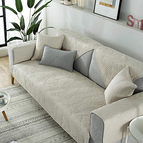 Sala Cubierta Protectora para sofá,Funda de sofá Acolchada de algodón, Fundas Modernas Antideslizantes para sofá, Protector de Tela para sofá, Funda Antideslizante con patrón de Hoja de plátan