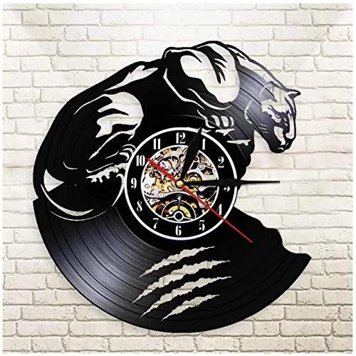 Reloj de Pared de Vinilo Reloj de Pared con Registro de Vinilo de Animales Puma Reloj de Pared Hecho a Mano con Movimiento de Cuarzo silenciosoDecoración del hogar