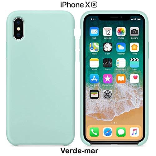 Funda Silicona para iPhone X y XS Silicone Case Calidad, Textura Suave, Forro Interno Microfibra (Verde mar)