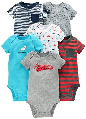 Simple Joys by Carter's - Body de manga corta para bebé, 6 unidades ,Azul marino/Rojo ,3-6 Meses
