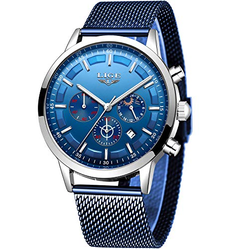 LIGE Relojes Hombre Impermeable Acero Inoxidable Automática Fecha Reloj Hombres Clásico Negocio Azul Analógico Cuarzo Reloj