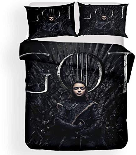 NBAOBAO Game of Thrones, set di biancheria da letto in 100% fibra super fine 1 copripiumino 2 federe 80 x 80 cm (thrones 3,220 x 240 cm + 80 x 80 cm x 2)