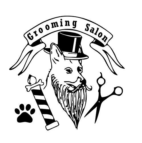 Pet Grooming Salon Wandaufkleber Pet Shop Hund Hut Pfote Schere lustige abnehmbare Wandtattoos Wohnaccessoires 59x58cm