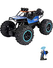 Rock Climbing Stunt RC Car, 4WD 2.4GHz Remote Control truck with off road tires LED Lights RC drift cars for Boys Birthday (Blue)