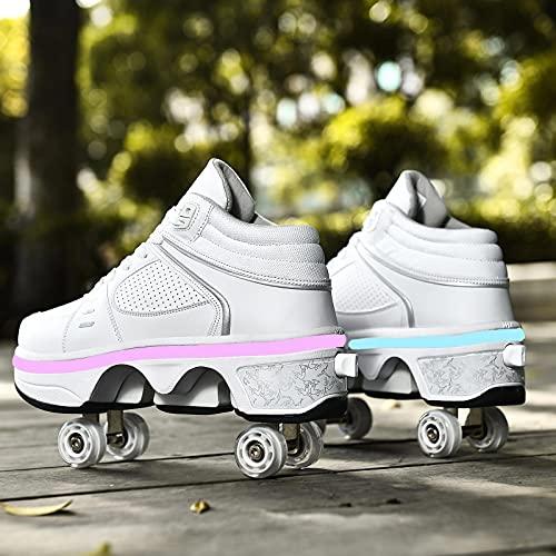 XRDSHY Zapatos De Deformación Patines para Principiantes Zapatos con Ruedas con Luces LED Zapatillas De Deporte Multifuncionales para Niños Y Niñas,White-EU41/27.3cm