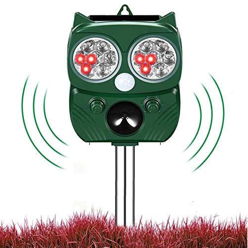 Repelente Solar Para Gatos,Ahuyentador de gatos ultrasonidos,Ultrasónico Repelente de Animales,5 Modo Ajustable Repelente De Gatos LED,Impermeable,Carga Solar y USB, Exterior,Perros,Ratones etc