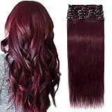 SEGO Extension Clip Rouge Cheveux Naturelle Mèche Bande pas Cher Rajout Humains Froid Vrai [Volume Léger] 50cm - 99J#Vin rouge