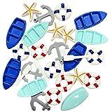 Daimay 28 piezas de resina náutica adornos en miniatura para playa, mini remos de mar, canoa, ancla salvavidas, modelo micro paisaje, decoración de acuario terrarios en miniatura jardines 7 estilo