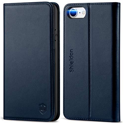 SHIELDON iPhone SE 2020 Hülle, Handyhülle iPhone 8, Schutzhülle [100prozent Rindsleder] [Schützt vor Stoß] [Verdichtes TPU] [Kartenfach] [Stand] [Magnet], Cover Kompatibel für iPhone 7/8/SE2 4,7 Marineblau