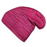 Wollhuhn Öko Mädchen Lines Long Beanie Ganzjährig Pink/Beere (aus Öko-Stoffen, Bio) 20196005 (L: KU ab 54 (darüber/Erwachsene))