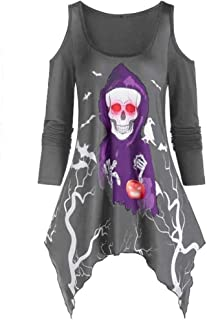 Plus Size Halloween T-Shirt for Womens Casual Off Shoulder Long Sleeve Skull Ghost Pumpkin Print Party Blouse