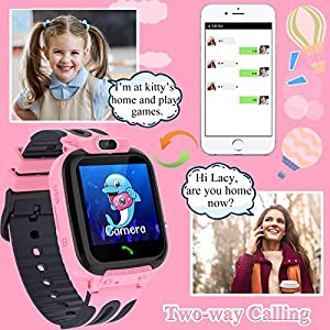 Kids Smart Watch for Boys Girls, IP67 Waterproof GPS Tracker Smart Watch for Kids with Calls SOS Voice Chat Camera HD Touch Screen Cell Phone Watch for Kids(Pink)