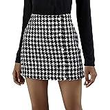Falda Acampanada Sexy Casual para Mujer, Cremallera de Cintura Alta/Media/Minifalda Ajustada de un Solo Pecho, Falda Corta de Tweed con Dobladillo Cruzado (E1, S)