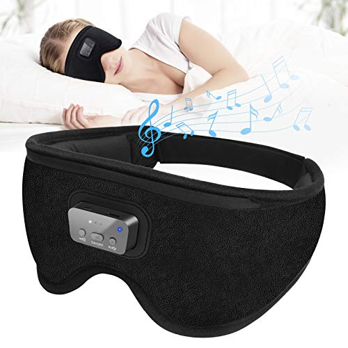 Blackout Sleep Eye Mask - 3D Blindfold Eyemask with 20 Soothing White Noise Sounds Machine Perfect Shading Blackout Timing Therapy for Sleeping,Snoring,Noise Canceling,Office,Travel,Men,Women