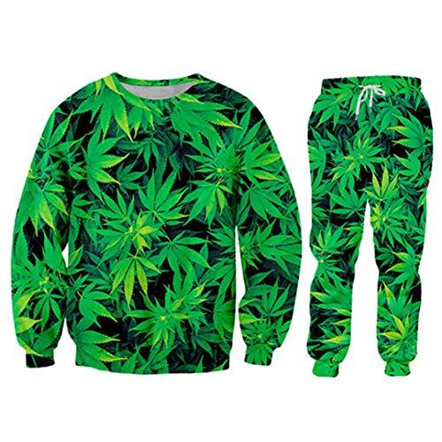 Pandodut Mode Männer/Frauen 2 Stück Anzug Set Harajuku 3D Green Hanfblatt Weeds Sweater + Jogginghose 2 Piece Sets M