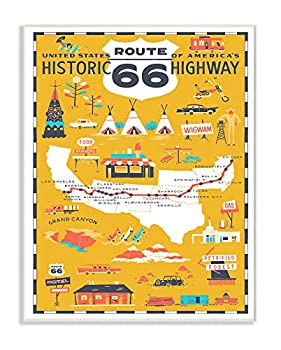 Stupell Industries US Route 66 Historic Highway Mustard Yellow Illustrated Scenic Map Poster Oversized Wall Plaque Art 12 x 0.5 x 18 Multi-Color
