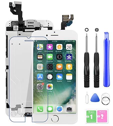 YoSuDa Kit de reparación de pantalla compatible con iPhone 6, incluye cámara frontal, botón de inicio, auricular y sensor de proximidad, juego de herramientas a juego (blanco)