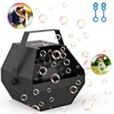 Professional Parties Bubble Machine, Durable Metal Bubble Machine with Upgraded Quiet Motor, Portable Handle Automatic Bubble Maker with 3000+ Bubbles for Christmas, Parties, Wedding, Disco, Stages
