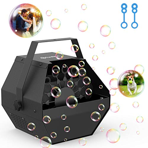 Professional Parties Bubble Machine, Durable Metal Bubble Machine with Upgraded Quiet Motor, Portable Handle Automatic Bubble Maker with 4500+ Bubbles for Christmas, Parties, Wedding, Disco, Stages