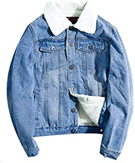 Men's Vintage Relax Fit Thick Fleece Sherpa Lined Denim Jean Jacket Coat