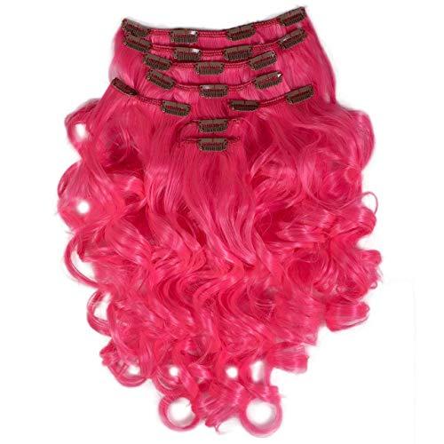 Hair2Heart Extension à Clipser Bouclées Synthétiques 104 Rose 60 cm 8 Pièces