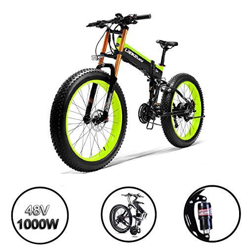 XTD Aggiornamento 500W Pieghevole Fat Tire Elettrico Bike- 14.5AH / 48V Batteria al Litio MTB Dirtbike 27 Costi Bicicletta Elettrica 26 Pollici E-Bike Sport Mountain Bike (Blu) B