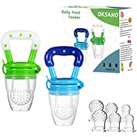 2-Pack Oksano Baby Food Feeder Pacifer with All Sizes Silicone Sacs