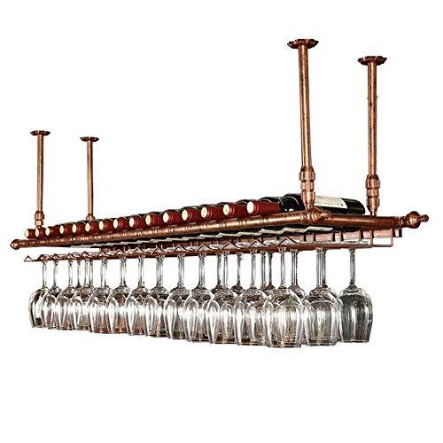 DNSJB Copa de vino Vino Bastidores Vino rack rack de techo suspendido titular de la copa de vino de vino de la vendimia titular de la botella de vino rústico Mounted Holder botellero barra for copas p