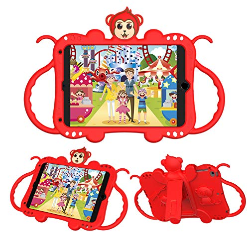 JZ Monkey Kickstand Case Cover Compatible with iPad Mini 1/2/3/4/5 Kids Case with Handle and Shoulder Strap - Red