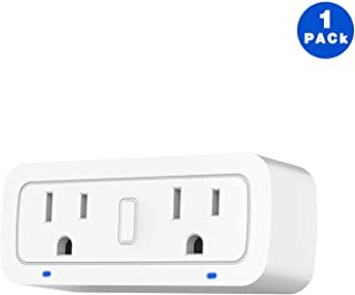 BRTLX WiFi Smart Plug Socket Works with Alexa Echo/Google Home/IFTTT,Dual Mini Outlets with Energy Monitoring and Timer, No Hub Required, Controlled Devices from Anywhere, 2 Years Warranty,1 Pack