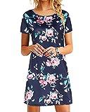 YOINS Vestito Donna Manica Lunga Abiti Invernali Eleganti Abito Mini Maglietta T-Shirt con Scollo Rotondo Sciolto Vestiti Donna da Cocktail Dark Blue EU44