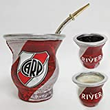 River Plate Argentina Mate Gourd Glass Cup W/Bombilla Straw Tea Drink Kit 5652