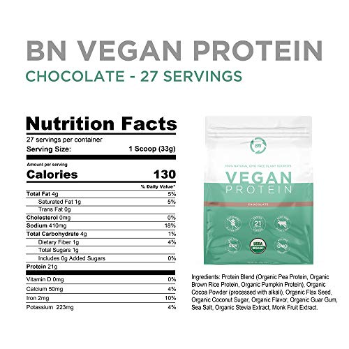 Organic Vegan Protein Powder - Plant Based Protein Powder Blend with Pea Protein and Added Organic Omega's - Raw, Non Dairy, Gluten & Soy Free, Non GMO (Chocolate, 27 Serving)