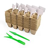 120 Pack Tikola Seed Starter Tray Kit, 12pcs Seedling Trays for Seedlings Cell Organic Biodegradable Plantable Pots with 20 Plant Labels and Garden Tool for Vegetable, Flower and Garden Planting