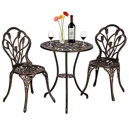 ASSR Juego de mesa y sillas de jardín con diseño de tulipán de 3 piezas, acabado en bronce antiguo, muebles de patio para porche, césped