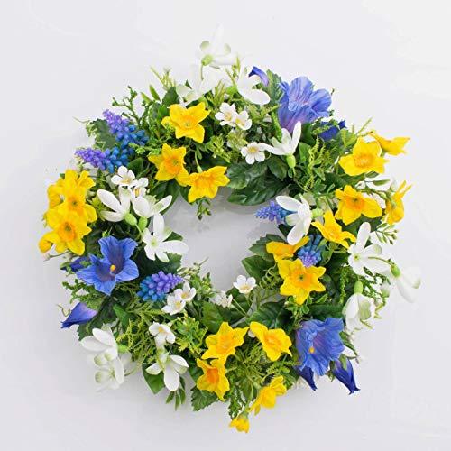 artplants.de Künstlicher Frühlingskranz Filippa, Narzisse, Hyazinthen, gelb - blau, Ø 30cm - Kunst Kranz - Deko Kranz