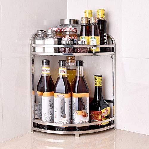 HDLWIS Multifunktionale Küche Edelstahl Lagerregal, Lagerung Eckregal Lagerregal, Küche Gewürz Regal Lagerung Eckregal