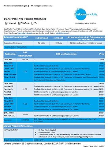 Lebara Mobile inkl. 10,00€ Startguthaben