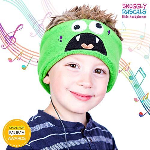 Snuggly Rascals (v.2) Kinder-Kopfhörer, Ultra-bequem, größenverstellbar und mit begrenzter Lautstärke (Baumwolle, Monster)