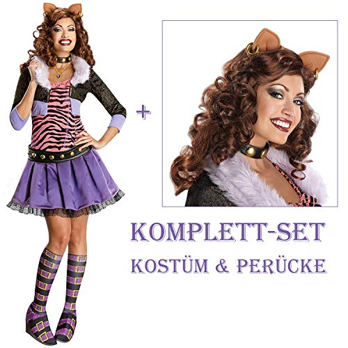 Satief Damen Clawdeen Wolf Kostüm & Perücke / Monster High (36/38 + Perücke)