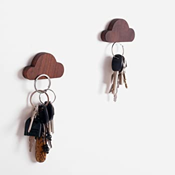 Frjjthchy 2 Pcs Cloud Shaped Key Hook Wooden Magnetic Wall Key Hanger Creative Wall Keychains for Home Office (Coffee)